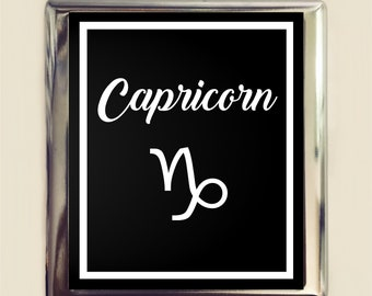 Capricorn Zodiac Sign Cigarette Case Business Card ID Holder Wallet Astrology Astrological New Age Spirituality