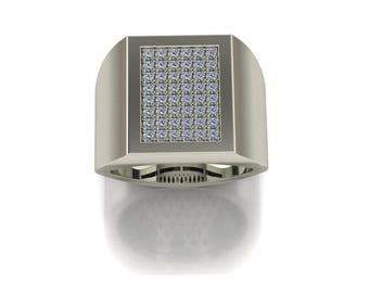 14K White Gold  Men's  Ring With  White  Diamonds M-MRG1005