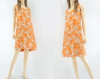 60s Sheath Dress 60s Shift Dress Vintage Orange Dress 60s Floral Dress 1960s Sun Dress Sleeveless Dress xs / s
