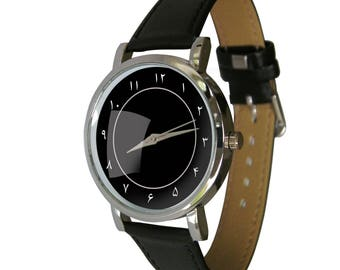 Black Persian Number design watch. shows Persian numerals in a clean classy design. Genuine Leather Strap. mens watch. womens watch