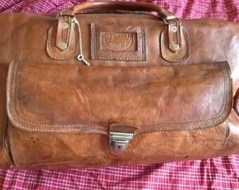 leather travel bag. leather travel bag vintage. Old travel bag.