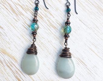 Dangle Earrings, Amazonite Earrings, Long Earrings, Copper Jewelry, Drop Earrings, Boho Jewelry, Amazonite Jewelry, Boho Wedding Jewelry