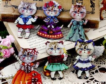 12pcs MIX Handmade Colorful Lovely Cat Charms / Pendants (CWJ08)
