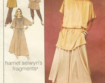 70s Harriet Selwyn Womens Pullover Dress, Tunic, Skirt & Pants Simplicity Sewing Pattern 8648 Size 12 Bust 34 Boho Designer 1970s Patterns