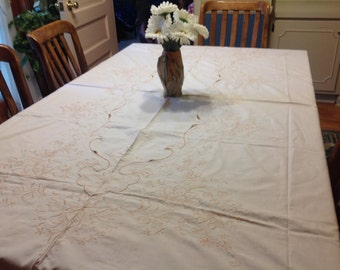 Vintage Ivory and Beige / Tan  Embroidered Eyelet Tablecloth