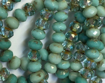 Turquoise Mix Green Blue Transparent Czech Pressed Glass Medium Faceted Rondelles with Picasso 5mm x 7mm 25 beads