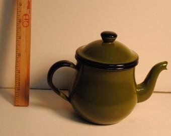 Vintage Enamelware Enameled Green Black Tea Coffee Pot - Japan Enamel