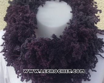 Beautiful woman in shades of plum snood