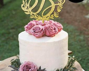 Monogram Wedding Cake Topper Letter B, Monogram Cake Toppers, Initials Wedding Cake Topper, Personalized Gold Monogram Cake Topper