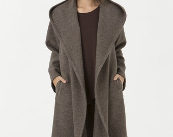 Hooded Boiled Wool Jacket - Carmen Jacket in Taupe