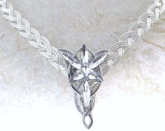 Evenstar Half Torc Necklace with Celtic Weave