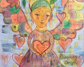 Guardian Angel, Original Painting on Wood, Folk Art Angel, Fine Art Painting, Children's Original Painting, Nursery Art, Kid's Room