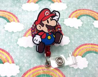 Super Mario Nintendo Nerd Geek Gamer Girl Rhinestone Video Game Bling Womens Retractable ID Badge Reel Name Tag Work Nurse Rn Cna Technician