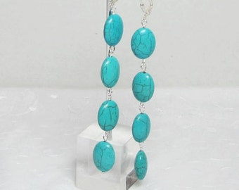 "Oval Bead Turquoise Earrings 4"" Long Teal Oval Beads Dangle Earrings"
