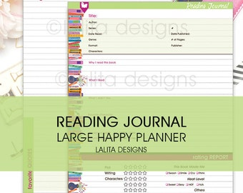 Reading Journal Insert - Printable - for use with BIG Happy Planner