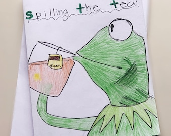 Kermit Drinking Tea Meme Notecard