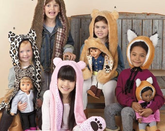 """Simplicity 1514 Sewing Pattern for Child's Animal Hats and Matching 18"""" Doll Hats S M L Uncut"""
