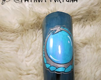 14.5 oz Teal Ouroboros Bubblt Water Dragon Drinking Horn with Leather Holster