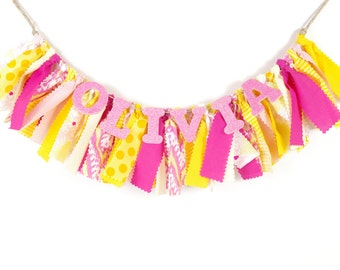 Pink Lemonade Girl's Birthday Party - Highchair Banner - Rag Banner - Photography Prop - Pink & Yellow Banner for Nursery