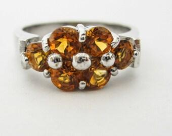 ONE STERLING silver, Orange Topaz flower ring