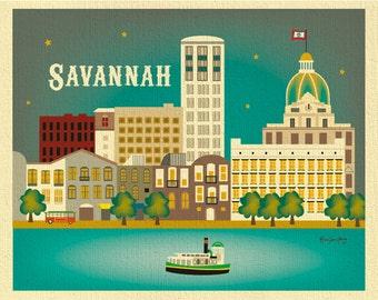 Savannah Print, Savannah GA Skyline,  Georgia Wall Art, Savannah horizontal art, Savannah Digital Art, Savannah GA City Art - style E8-O-SAV