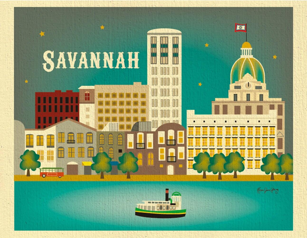 Savannah Print Savannah GA Skyline Georgia Wall Art