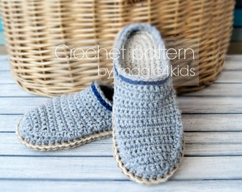 Crochet pattern TODDLER CLOGS with rope soles,for 1 yo up to 10 yo,slippers,scuffs,loafers,kids,girl,boy,soles pattern included,cord,twine