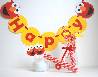 Elmo Party set, Elmo party package, Happy Birthday Inspired ELMO party set , banner, centerpiece, cupcake toppers and more  A514