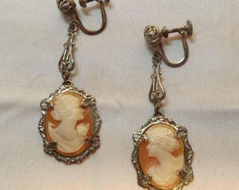 1920s Art Deco Sterling Cameo Pendant Screw Back Earrings with Filigree Post Right and Left Facing Womens Heads
