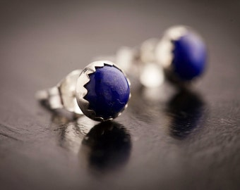 Tiny Lapis Earrings - Genuine Lapis Lauzuli and Sterling Silver Post Earrings, Bezel Set Deep Blue Earrings, 6mm studs