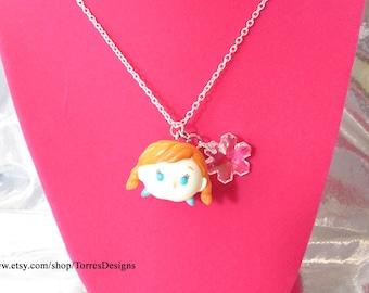Tsum Tsum Frozen Anna Pendant Necklace Custom made with Swarovski Snowflake Crystal Ready To Ship