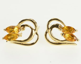 14K Marquise Citrine Wavy Curvy Design Post Back Earrings Yellow Gold
