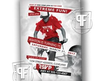 BMX Bike Birthday Invitation - BMX Birthday Invitation - BMX Party - Bmx Bike Birthday - Extreme Biking Bmx Birthday