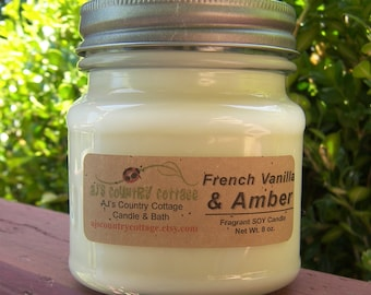 FRANÇAIS vanille ambre soja bougies bougie - vanille bougies, bougies de soja, ambre bougies, bougies parfumées, bougies bois de santal, Patchouli terreux
