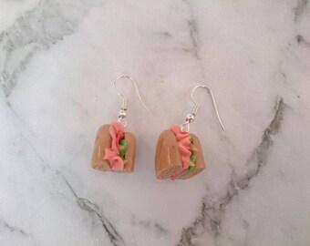 Sandwich subway roll dangle earrings. Bread stick earrings. Realistic earrings.Polymer clay charms handmade food miniature jewellery