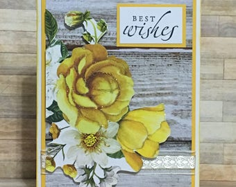 Handmade card, greeting card, occasion card, best wishes card, yellow roses, flower