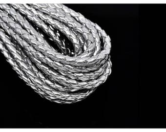 5 m round braided leather cord 5mm silver