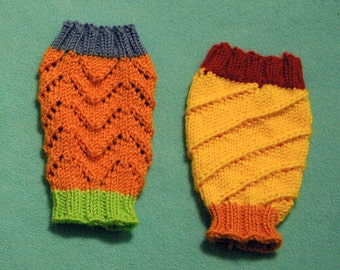 Baby leg warmers, size 0 - 6 months, orange, blue, green, red, and yellow