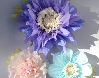 Set of 3 Giant Paper Flowers (Lilac)- Perfect Decorations for Wedding,Birthday Party&Baby Shower