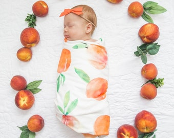 Organic cotton swaddle blanket in Sweet Peach, Watercolor Peaches