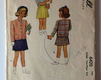 McCall 6420 Girls Skirt and Jacket Size 2 Vintage 1940's