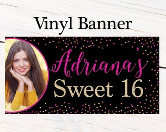 Sweet 16 Sparkle Personalized Banner  ~ Happy Birthday Personalized Party Banners- 16th Birthday Banner, Custom Photo Banner