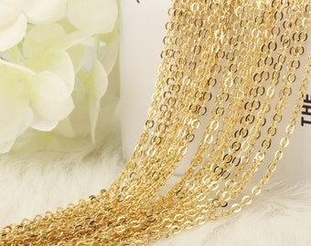 12 PCS Gold Chain Necklace Bulk Supply. Finished Soldered Brass Chain for  Necklace Making. Lead Nickel Free.