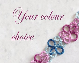 Your Choice of Colour Tatted Bookmark - Eva (variegated)