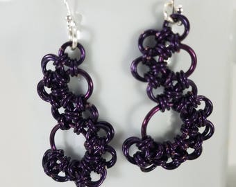Stepping Stone Chainmaille Earring in Purple or Rose Gold