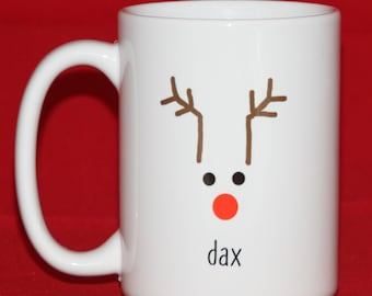 Personalized Reindeer Mug - Christmas Gift Mug - Christmas Hostess Gift - Christmas Gifts for Kids - Xmas Morning - Rudolph the Red Nosed