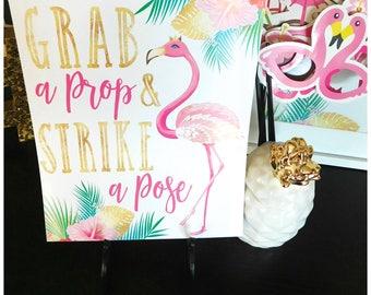 """Flamingo  """"Grab a Prop & Strike a Pose""""  - 8x10 Printable"""