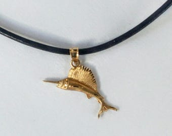 Vintage New 14K Blue Marlin Pendant Beach Surf Necklace