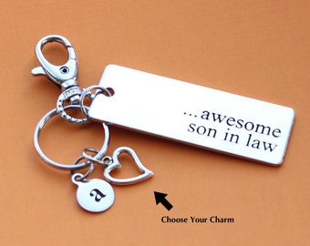 Personalized Son in Law Key Chain Stainless Steel Customized with Your Charm & Initial -K467