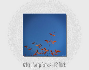Bright blue canvas wrap minimalist decor tree photograph nature wall art gallery wrapped canvas orange red wall hanging mid century decor
